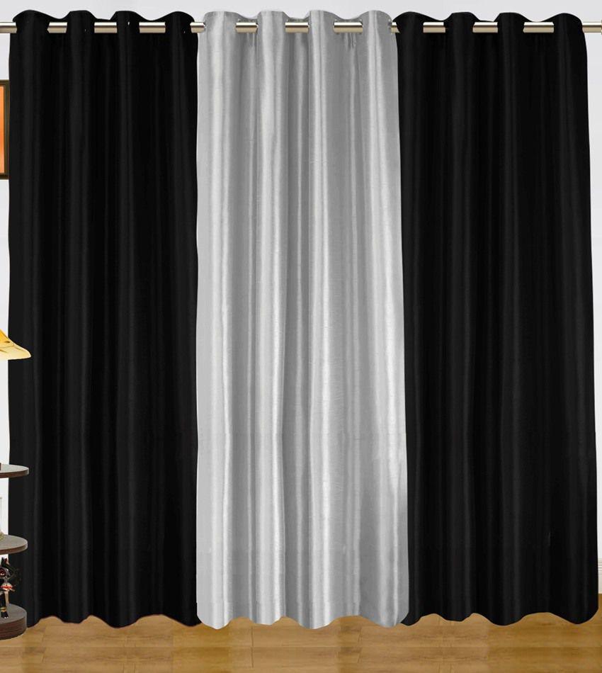 Dekor World Plain Black Silver Eyelet Curtain Combo