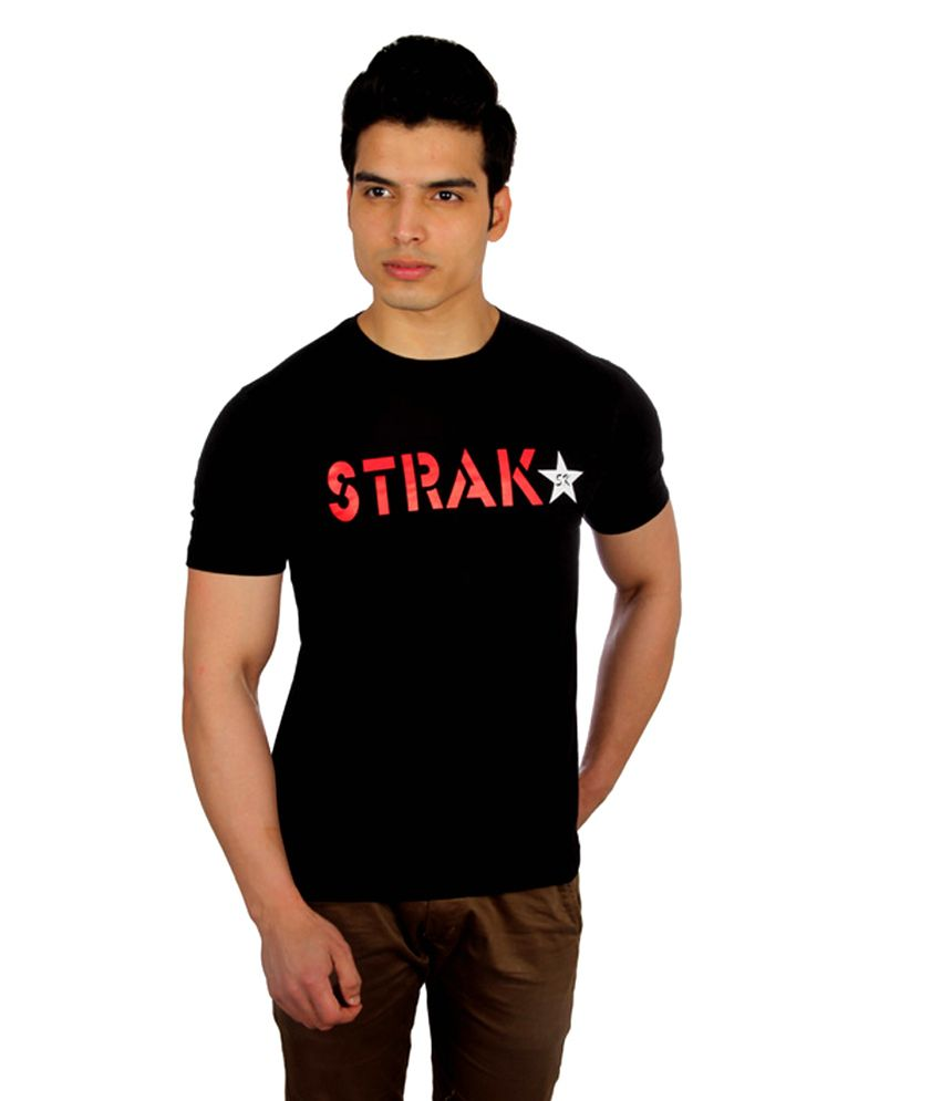 Strak Round Plain Black T-shirt