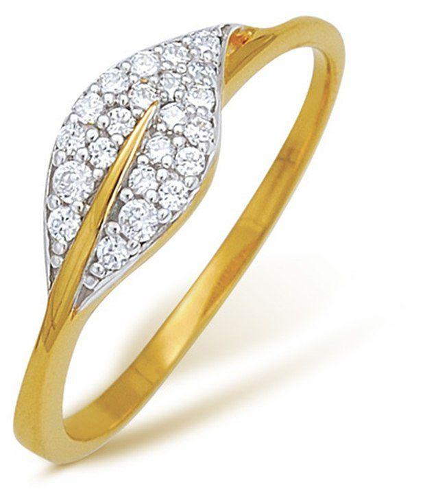 22 Kt Hallmarked gold & Swarovski Zirconia  1.97 Grams  Contemporary Ring By Nishtaa