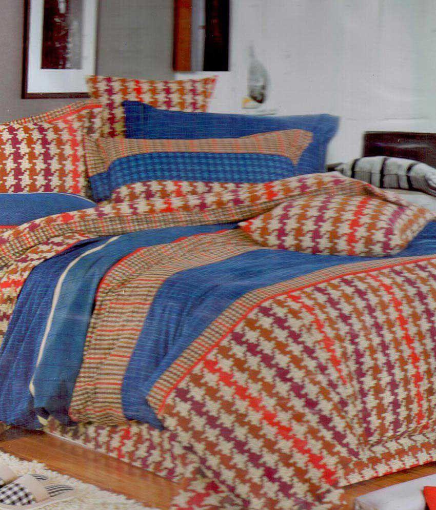 inddus brown checks king size cotton bed sheet buy inddus brown checks king size cotton bed. Black Bedroom Furniture Sets. Home Design Ideas