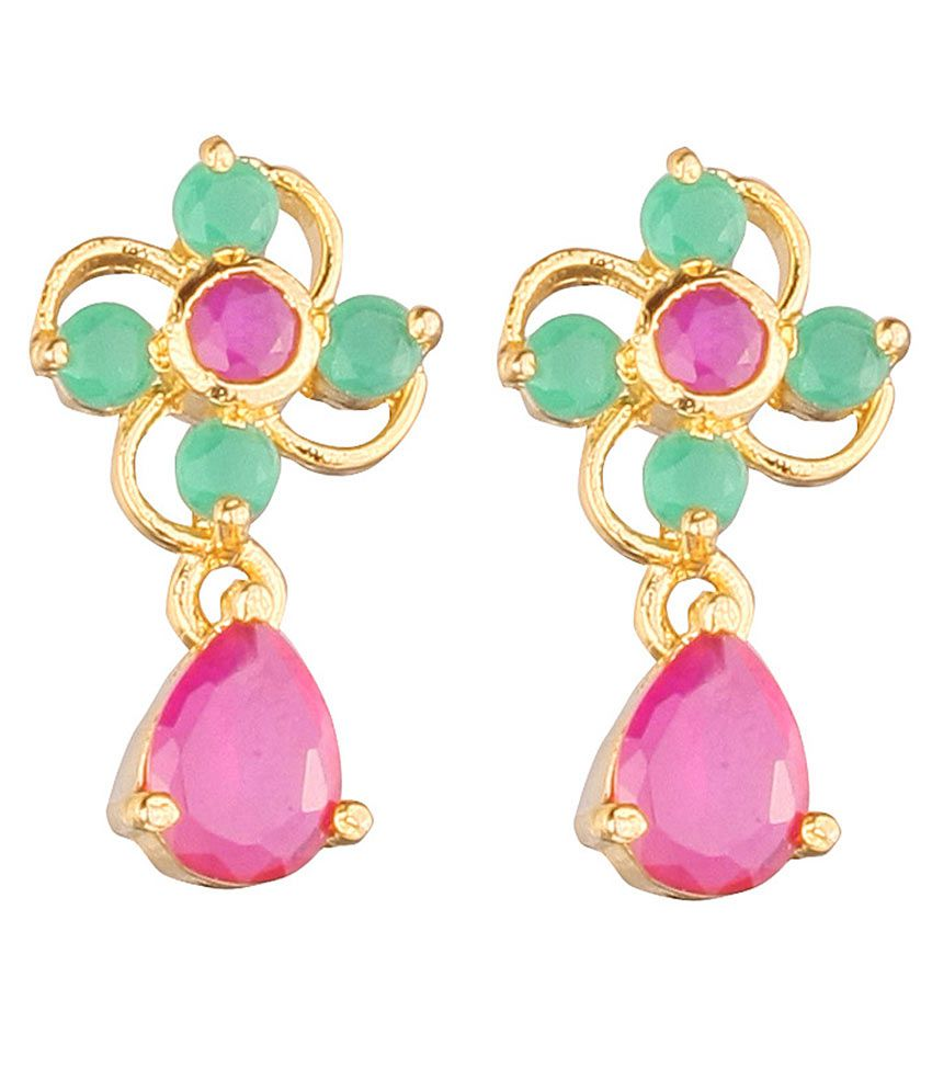 VaRaaGk Attractive Emerald with Ruby Earring with Ruby Drop For Women