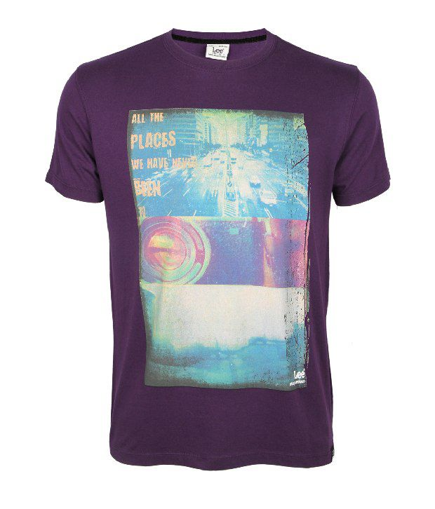 Lee Cooper Originals Trendy Purple Printed T Shirt