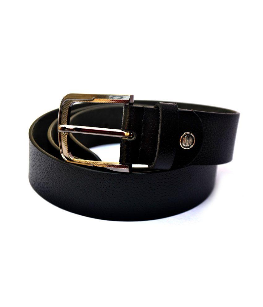 Modish Professional Basic Casual Leather Belt-Booti-Black:100% Genuine Leather