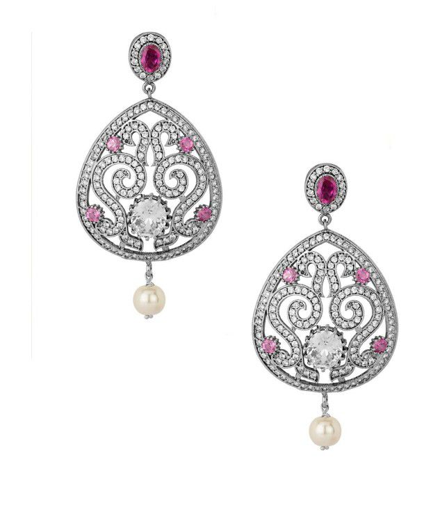 Voylla Big Drop Crystal Earrings Studded With Cz Stones