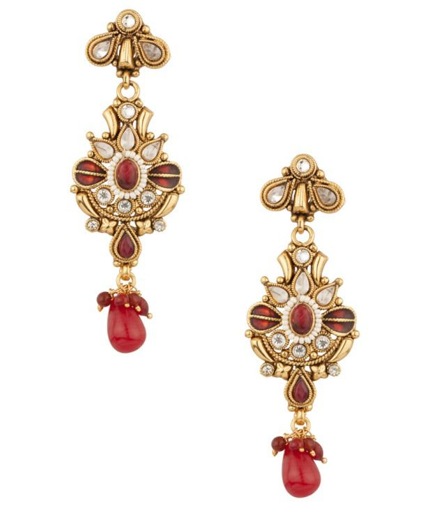Voylla Charming Red Floral Stones Encrusted Earrings