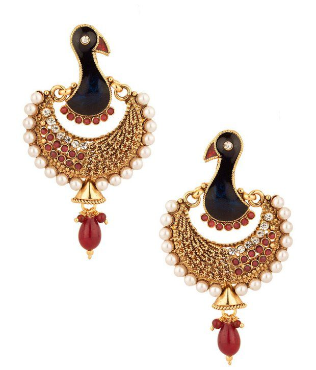 Voylla Dangler Earrings with Peacock Style Design; Crescent Shape; Red Stone