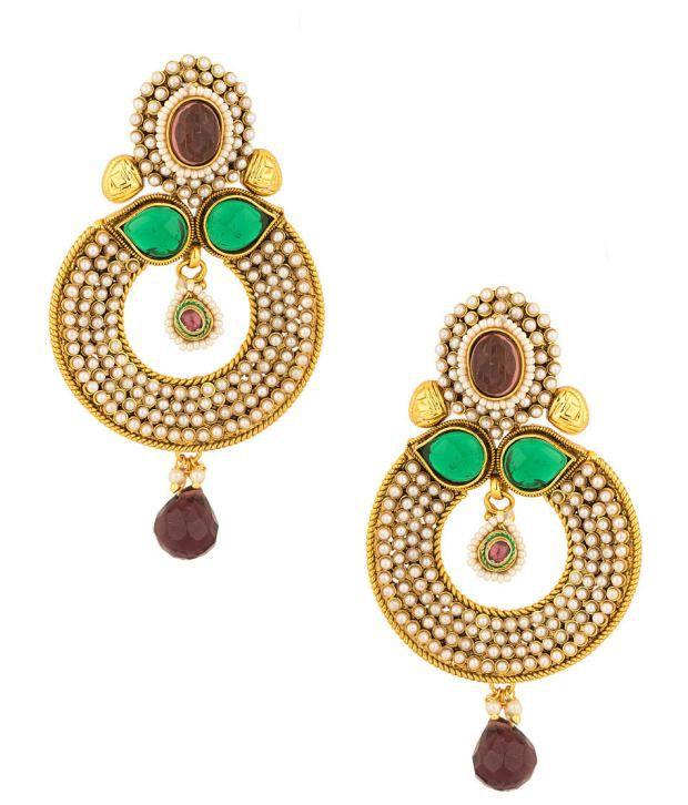 Voylla Dangler Earrings with Pearl Studded Loop Design; Green Stone; Purple Drop