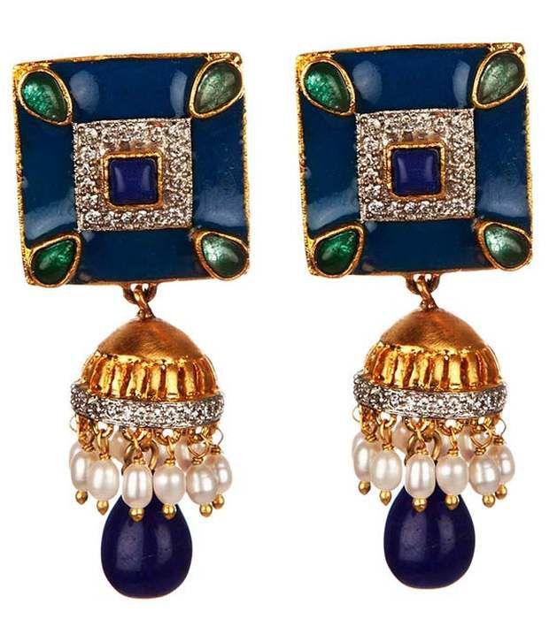 Voylla Elegant Square Earrings With Jhumki