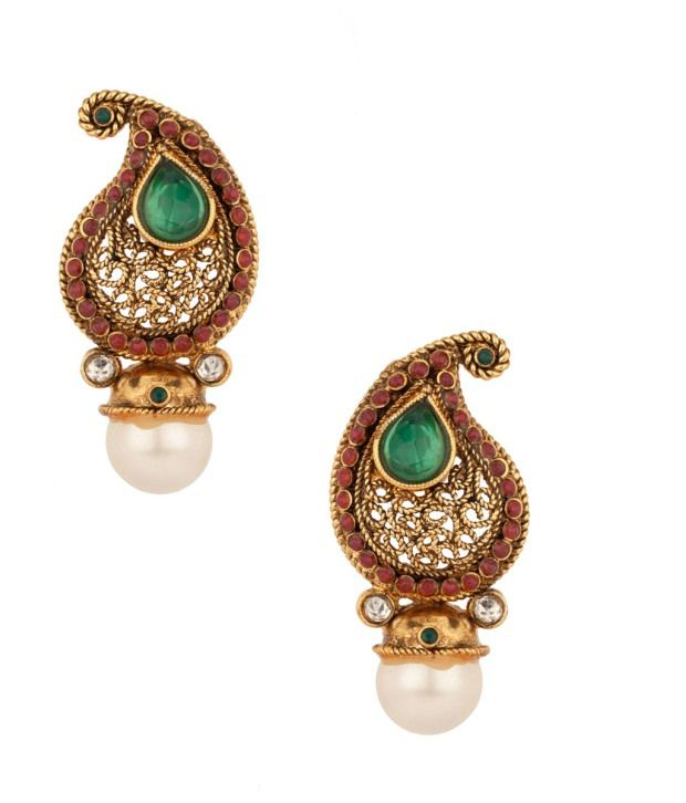 Voylla Exquisite Paisley Design; Pearl Studded Earrings