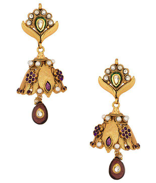 Voylla Floral Jhumki Pearl-Kundan Earrings With Drops; Enamel Work