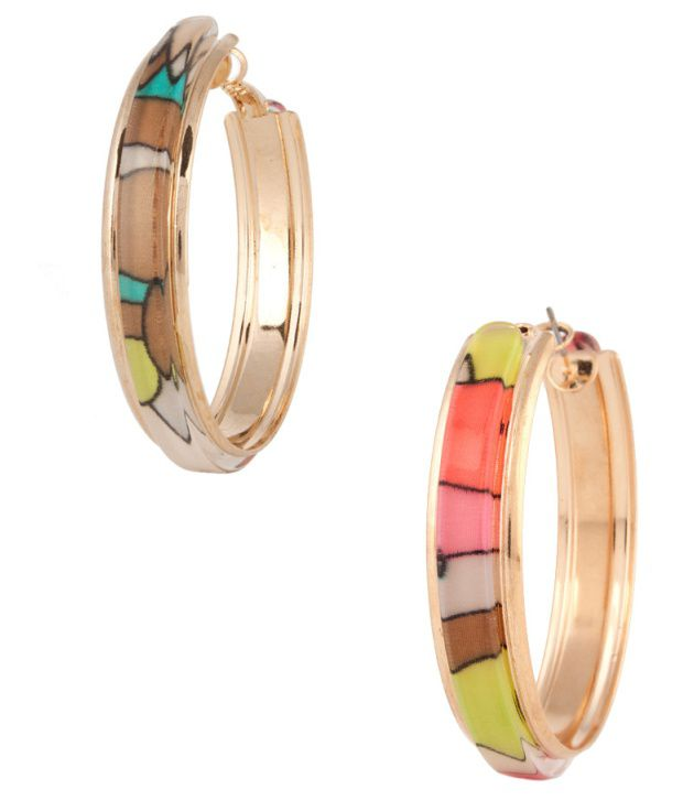Voylla Glorious Colourful Hoop Earrings