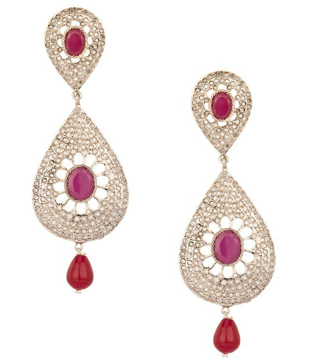 Voylla Glorious Silver Plated Drop Style Earrings