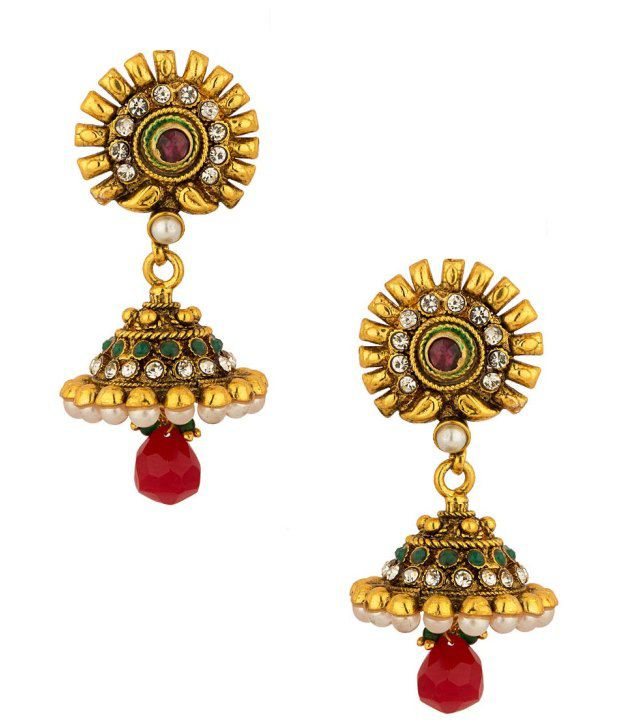 Voylla Gold Plated Floral Jhumkis Embellished With Pearl Beads; Red Drops