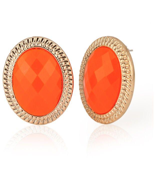 Voylla Oval Style Fluorescent Orange Studs