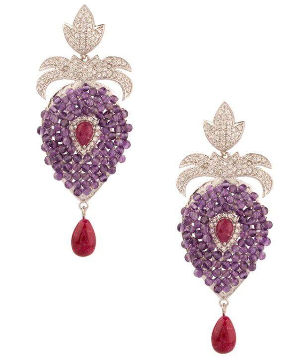 Voylla Pretty Tear Drop Style Violet Beaded Earrings