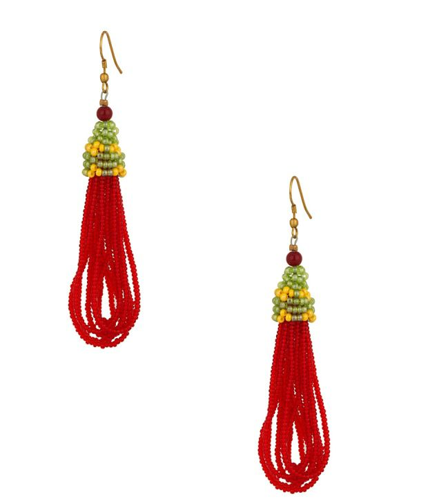 Voylla Red Multilayered Beaded Earrings