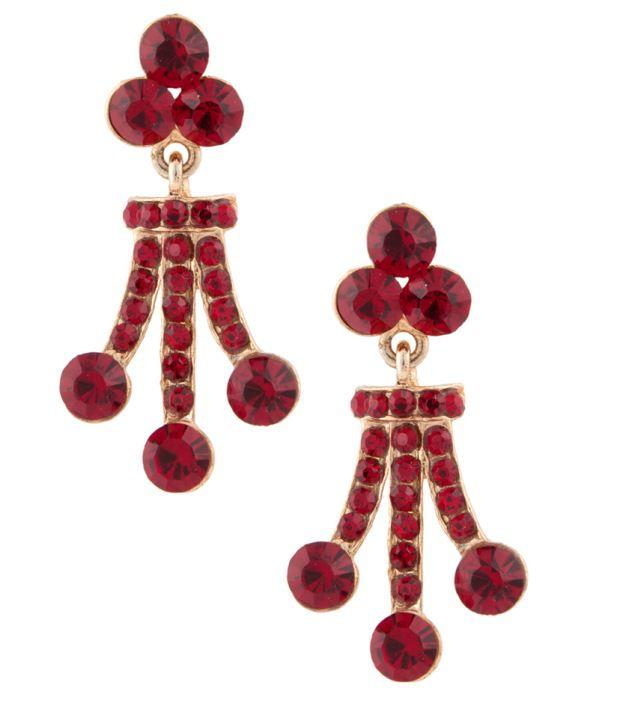 Voylla Sparkling Red Stones Encrusted Earrings