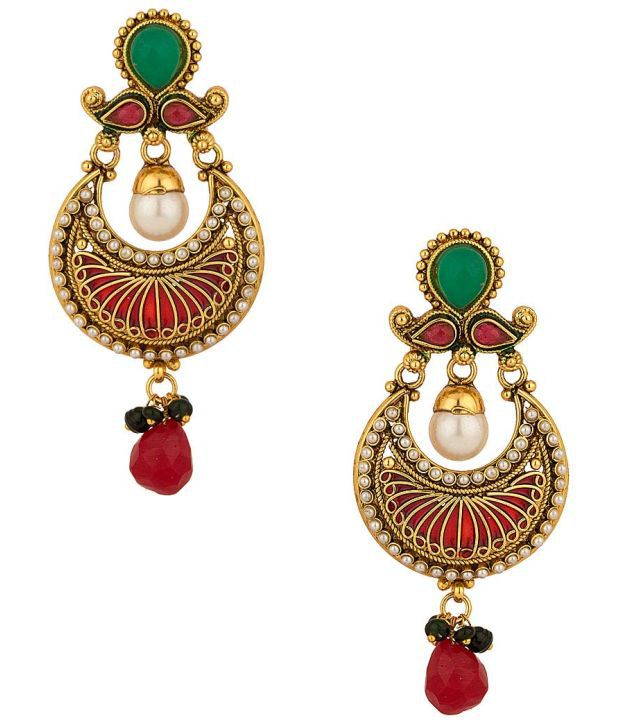 Voylla Traditional Charm; Earrings Pair Featuring Enamelled Design; Pearl Border