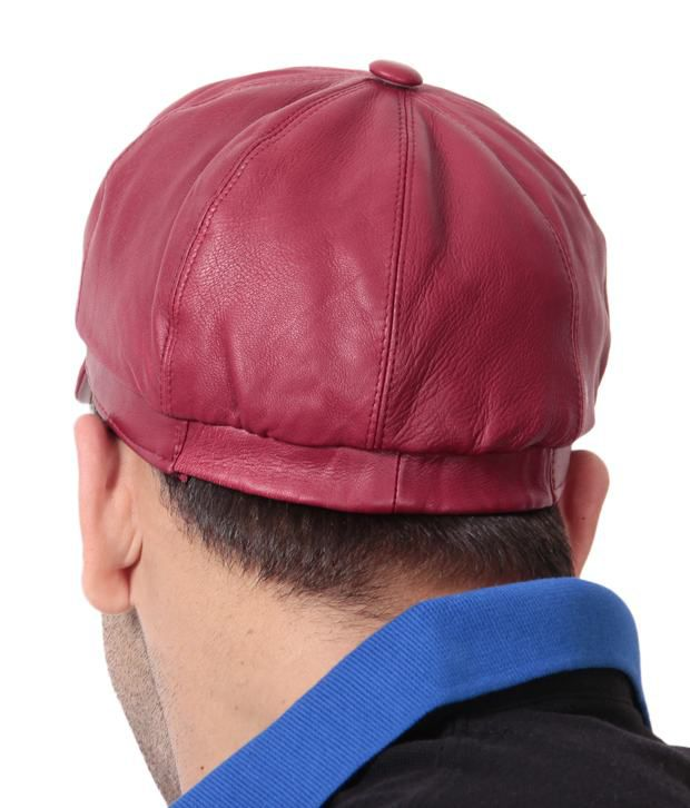 Walletsnbags Red Sporty Leather Cap for Men - Buy Online   Rs ... 0ca54f5d76a4