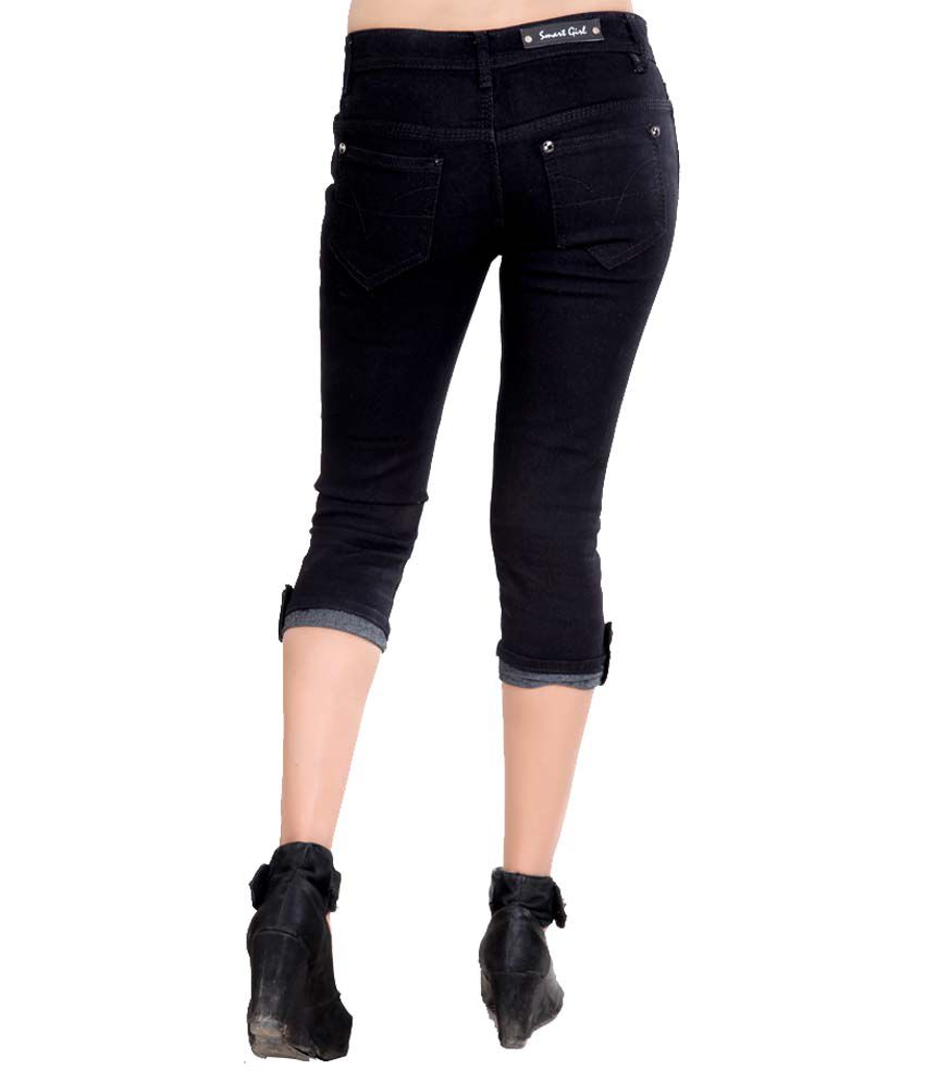 Buy Coaster Black Denim Capris Online at Best Prices in India ...