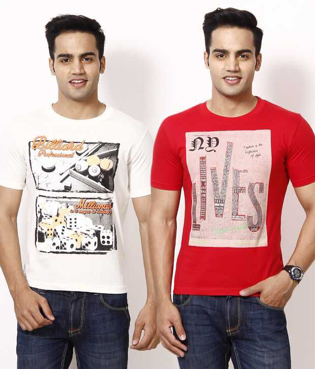Fort Collins Pack Of 2 White And Red Printed T Shirt