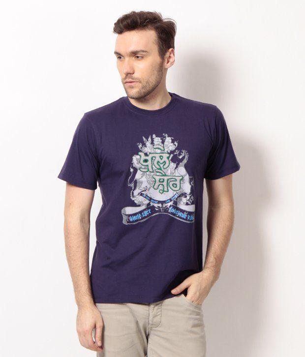 PUNJABI HERITAGE Purple Khule Sher Printed Cotton Men's T-Shirt
