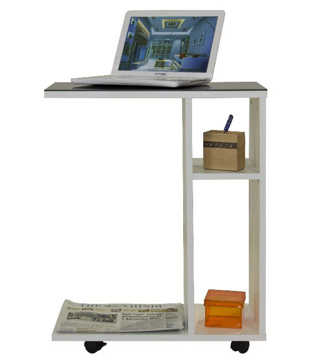 Stylespa Soho Trolley Off White Finish And Lacquered Top - Cyber Orange