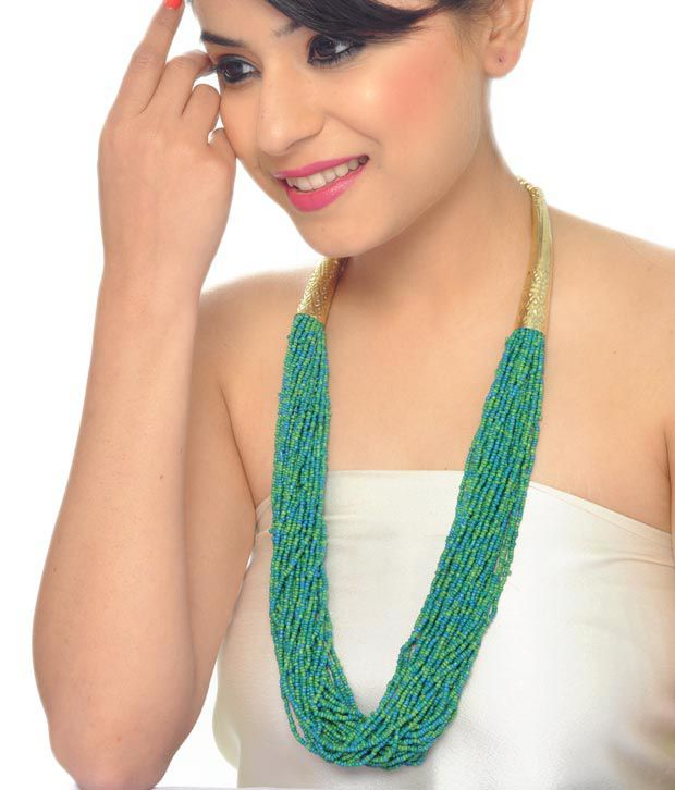 Art Mannia's Green Beaded Hasli   Necklace