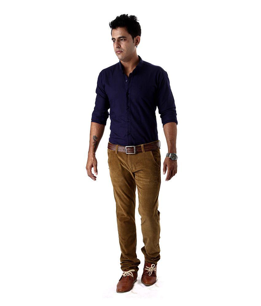 ec0c02e2ac67 Macoro 100% Cotton Linen Dark Blue Casual Shirt - Buy Macoro 100 ...
