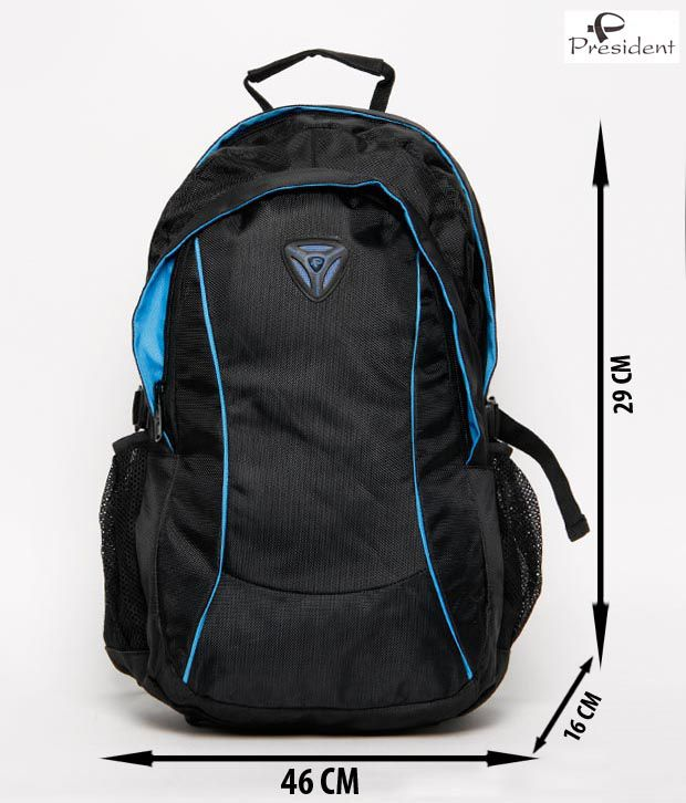 President Laptop 09 20 liters Blue And Black Laptop Backpack