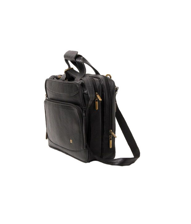 WalletsnBags Black Leather Laptop Bag