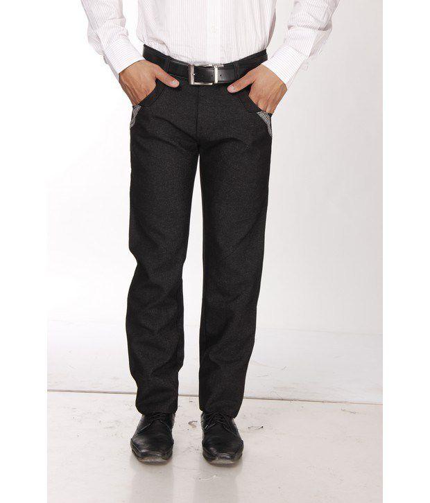 British Terminal Black Cotton Basic Trousers