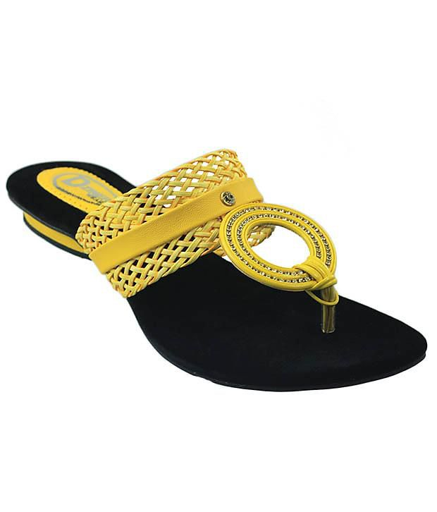 D'ziner Black Yellow Womens Slip On