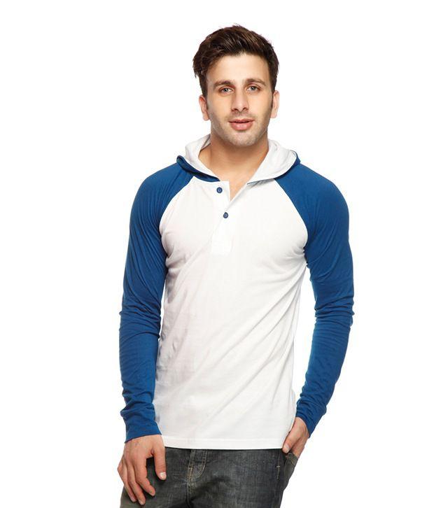 Gritstones White-Indigo Hooded Henley T Shirt