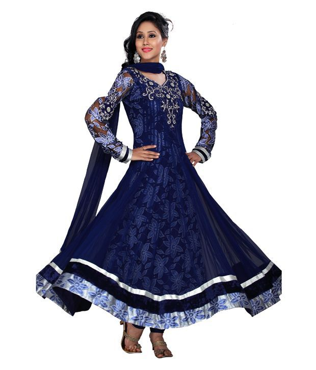 Idha Readymade Navy Blue Net Anarkali Suit