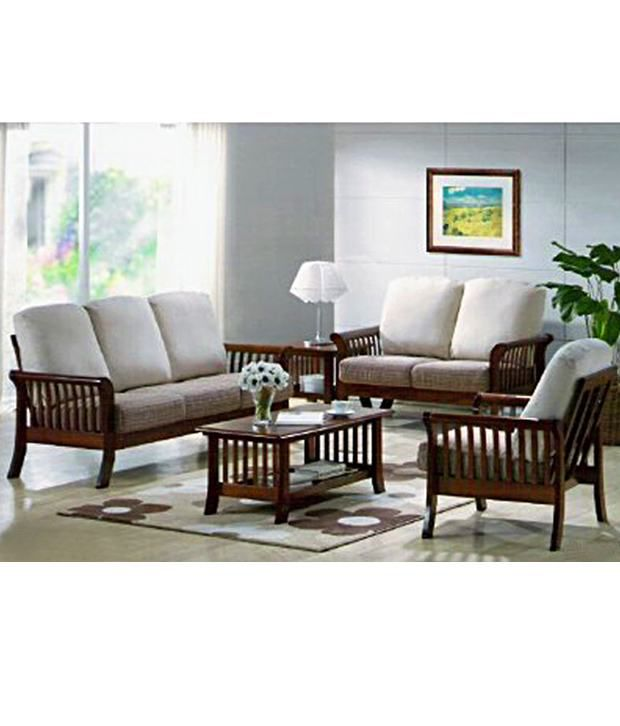 Induscraft living room wooden sofa set buy induscraft for Living room set design