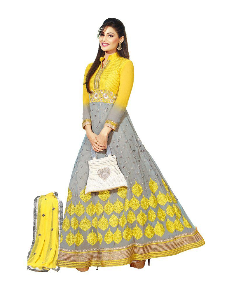 Mix N Match Gray Georgette Unstitched Dress Material
