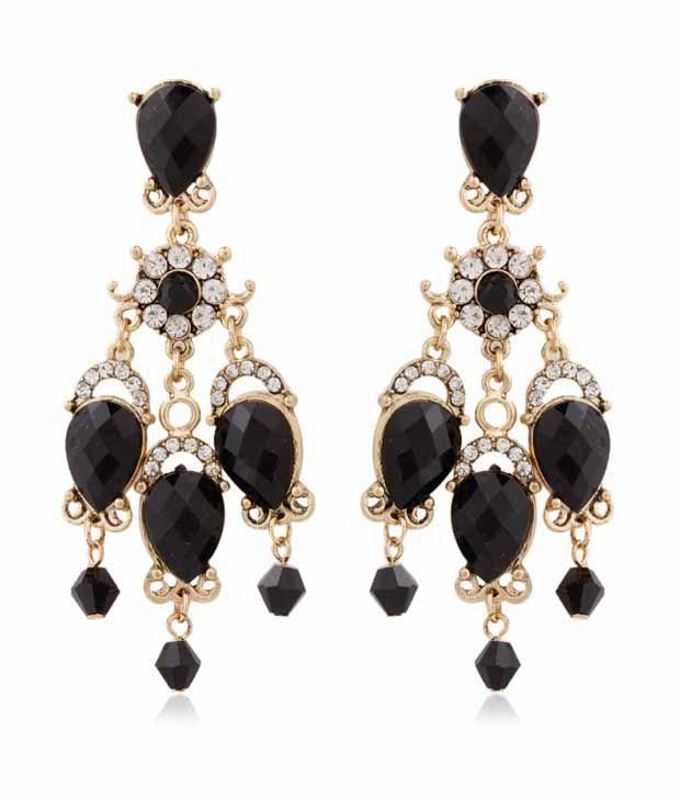 Pari Floral Centre Black Drop Earrings