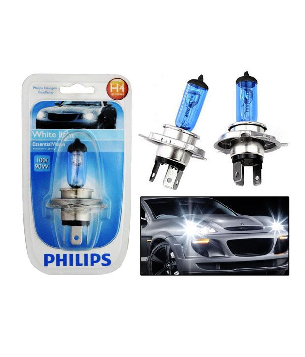 Philips Essential Vision Car Headlight Bulbs H4 100 90w White