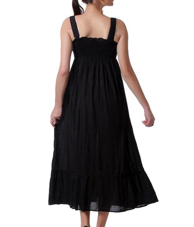 TeeMoods Black Cotton Maxi Dress - Buy TeeMoods Black Cotton Maxi ...