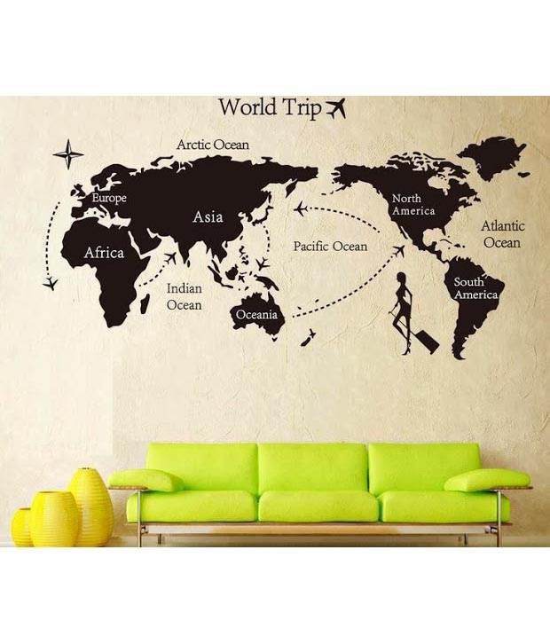 Wow interiors and decors world trip wall sticker buy wow wow interiors and decors world trip wall sticker gumiabroncs Image collections