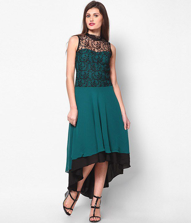 81c2f887f41a Athena Green Georgette Maxi Dress - Buy Athena Green Georgette Maxi Dress  Online at Best Prices in India on Snapdeal