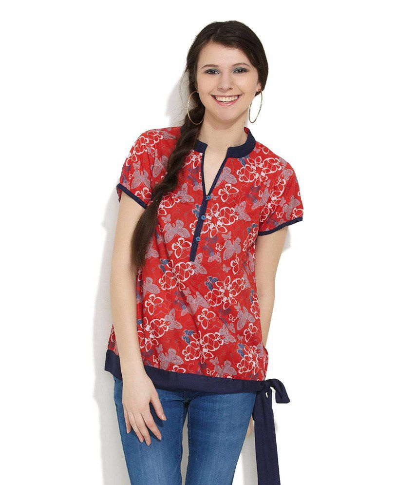 Ayaany Red Butterfly Printed Top