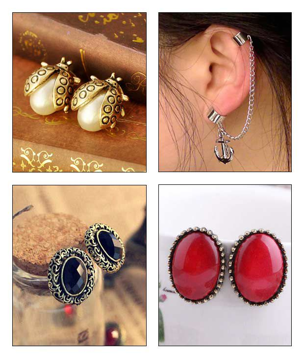 Cinderella Fashion Jewelry  Oval Studs & Anchor Ear Cuff Combo