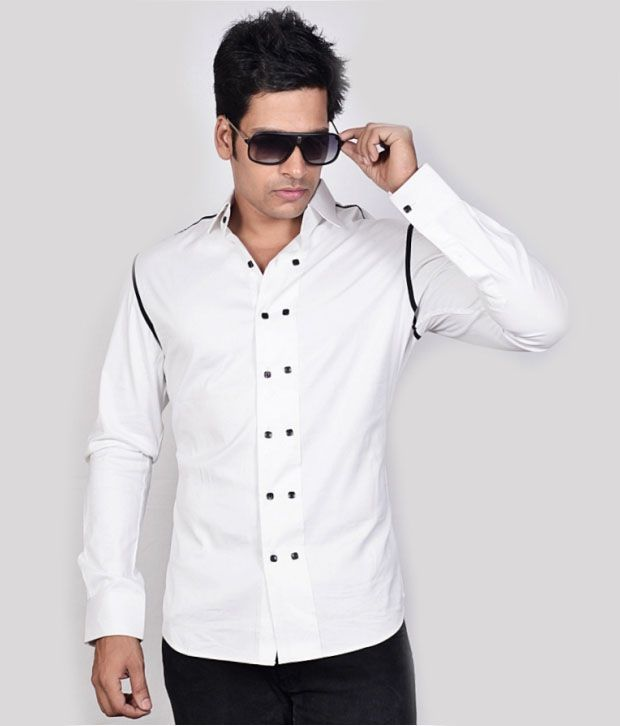 Dazzio White Stylish Shirt