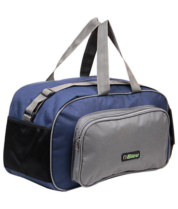 ... Bleu Sturdy Blue And Gray Duffle Bag (Large 08b35f7d69184