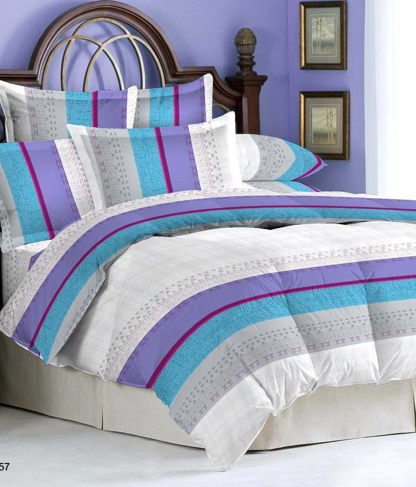 Bombay Dyeing Roseville Lavender Cotton Bedsheet And Two Pillow Cover ...