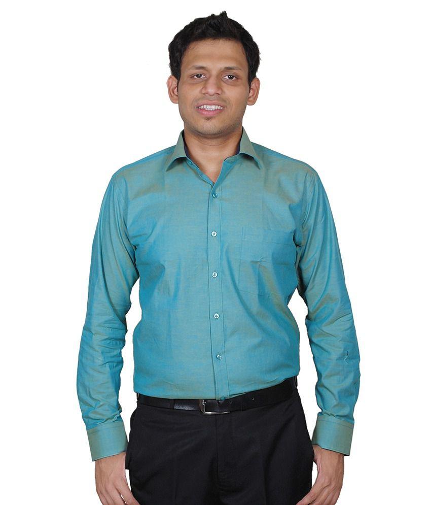 Hindsight Mens Premium 100% Cotton Sea Green Colour Formal Shirt ...