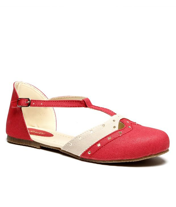 Infiniti Chic Red Flat Sandals