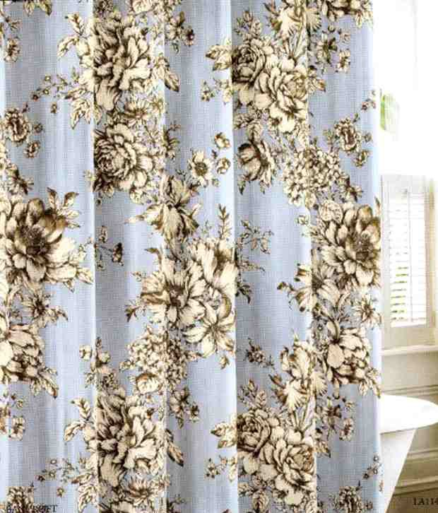 Laura Ashley Fabric Cotton Shower Curtain Bancroft Toile